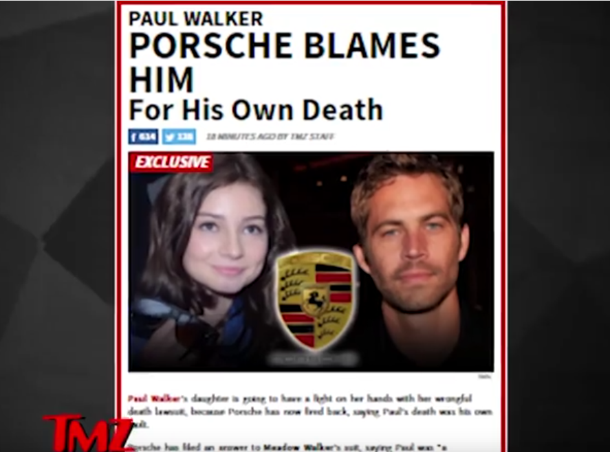 Porsche Blames Paul Walker for his own death