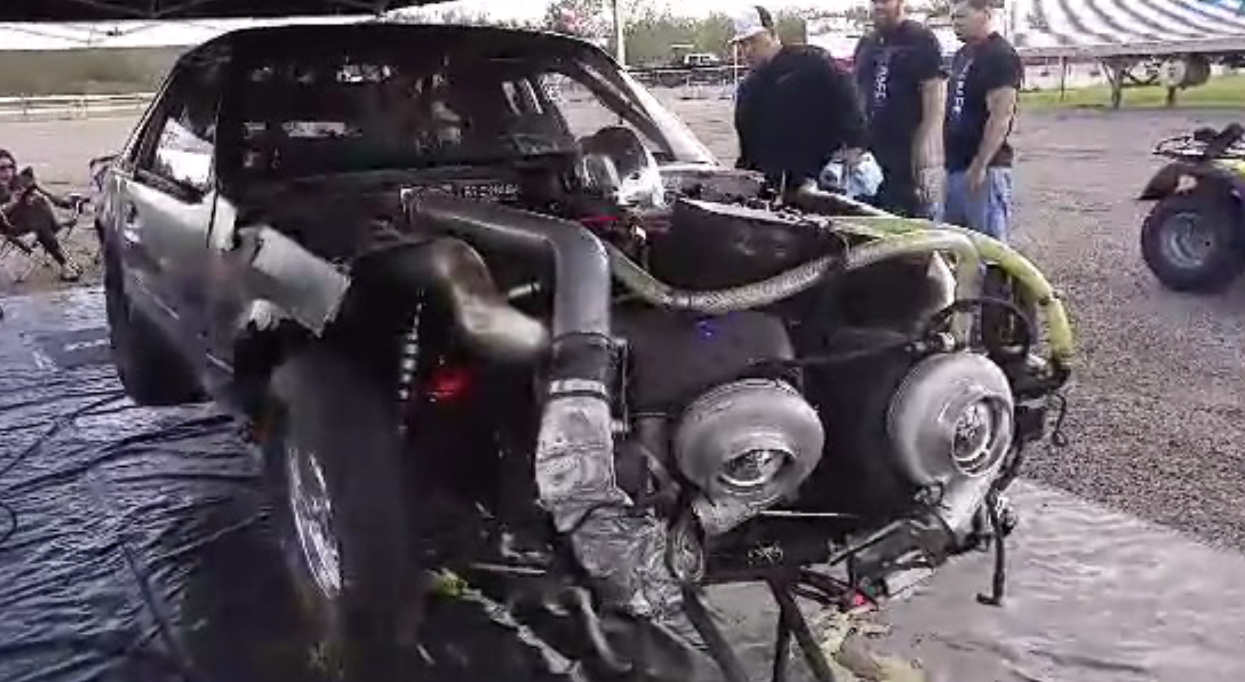 Mike Murillo crashed his SCT Performance Mustang at Edinburg Raceway