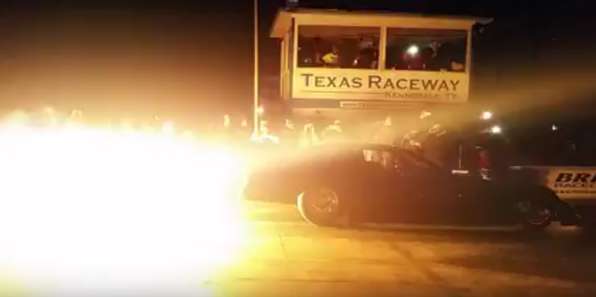 Tuff's Jet car at Redemption 4.0 showing off to the crowd.