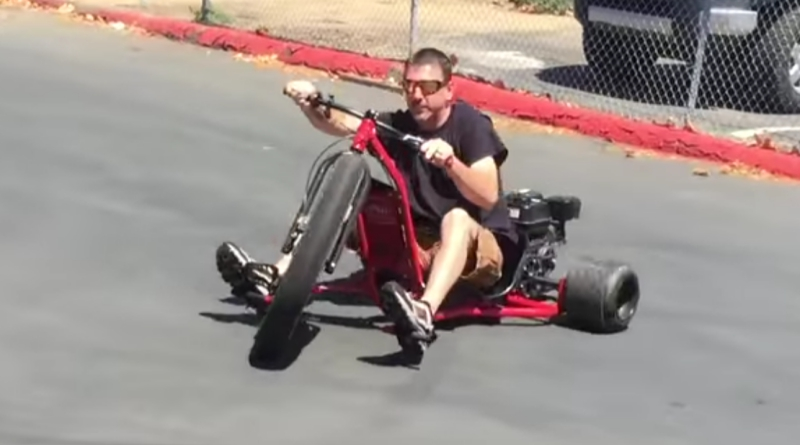 Daddy Dave Takes Drift Trike for Spin