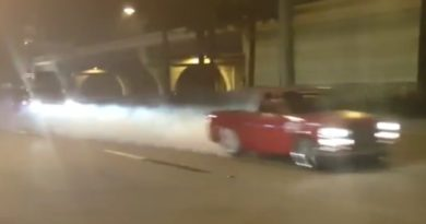 Truck Burnout In front of cop