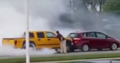 Guy falls asleep behind the wheel and does Epic Burnout!