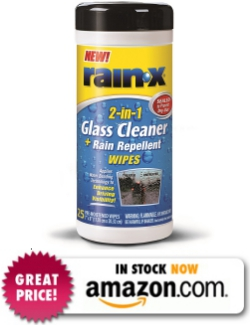 Rain-X 630022 Glass Cleaner and Rain Repellent Wipes