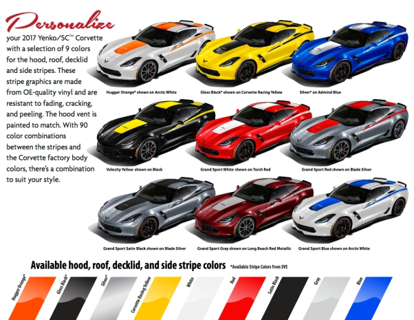 2017 Yenko/SC Edition Corvette color options